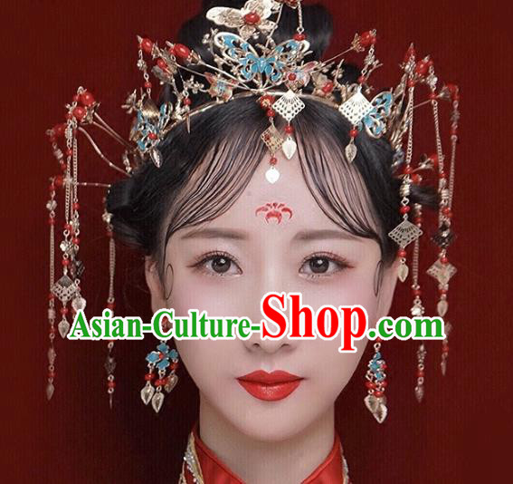 Traditional Chinese Ancient Bride Hair Accessories Xiuhe Suit Hairpins Golden Tassel Phoenix Coronet for Women