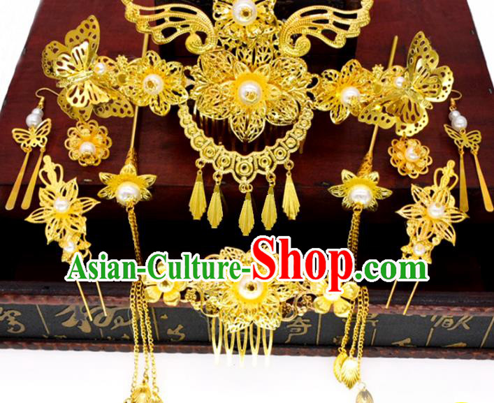 Traditional Chinese Ancient Hair Accessories Phoenix Coronet Hanfu Hairpins for Women