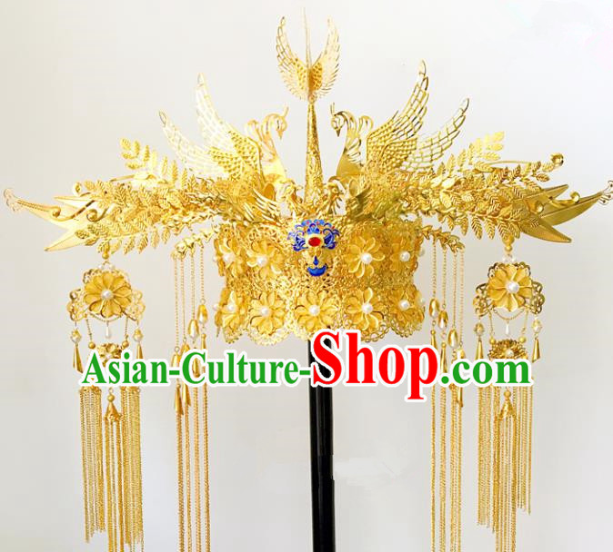 Traditional Chinese Ancient Wedding Hair Accessories Hairpins Tassel Golden Phoenix Coronet for Women