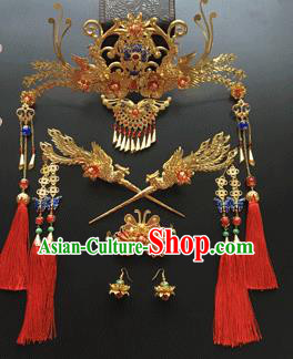 Traditional Chinese Ancient Wedding Phoenix Coronet Hair Accessories Tassel Hairpins Complete Set for Women