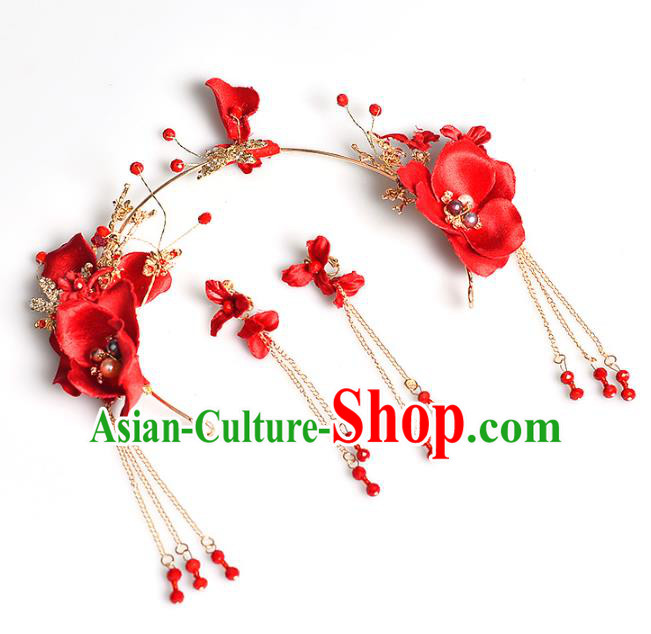 Handmade Bride Wedding Hair Accessories Red Flowers Hair Clasp and Earrings for Women