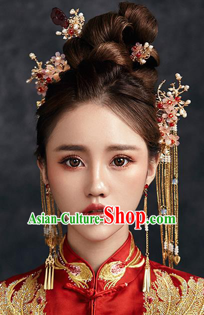 Traditional Chinese Ancient Bride Hair Accessories Xiuhe Suit Hairpins Step Shake Complete Set for Women