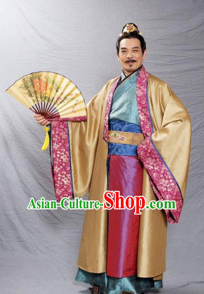 Ancient Chinese Tang Dynasty Ministry Councillor Businessman Replica Costume for Men