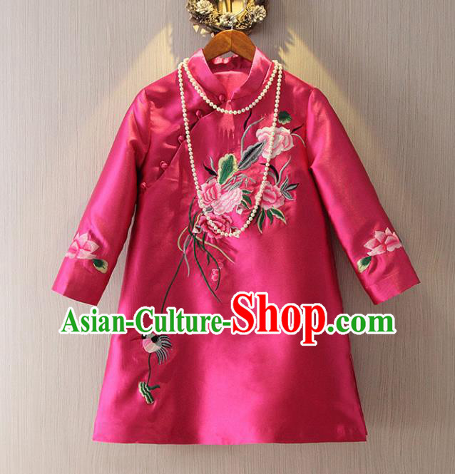Chinese Traditional National Cheongsam Tangsuit Stand Collar Embroidered Rosy Qipao Dress for Women