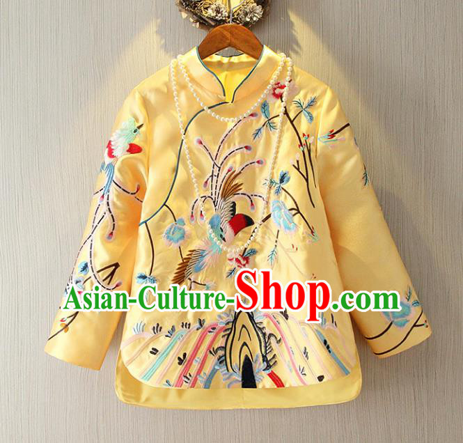 Chinese Traditional National Cheongsam Yellow Blouse Tangsuit Embroidered Shirts for Women