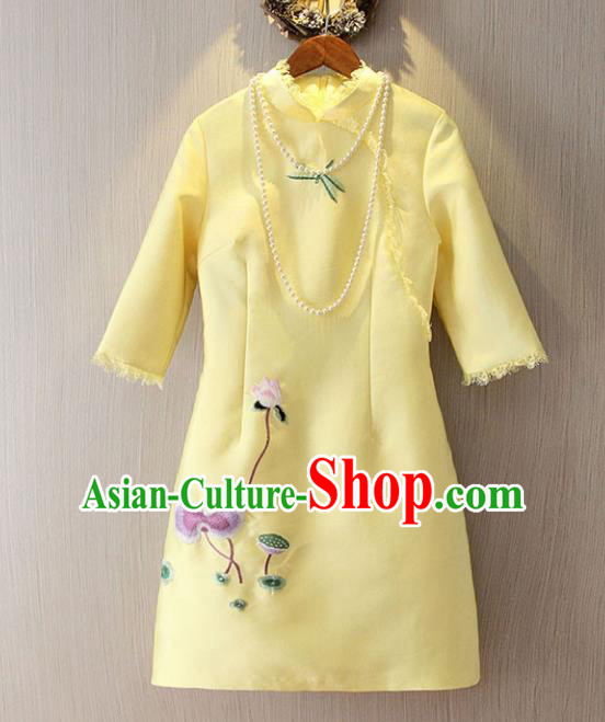 Chinese Traditional National Costume Yellow Cheongsam Tangsuit Embroidered Short Dress for Women