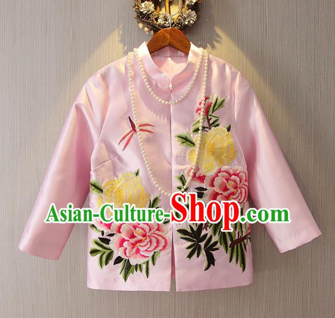 Chinese Traditional National Costume Pink Cheongsam Jacket Tangsuit Embroidered Upper Outer Garment for Women