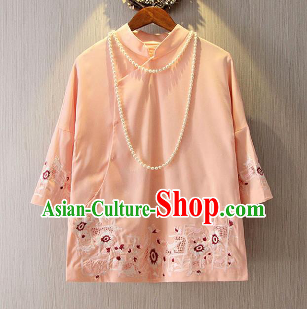 Chinese Traditional National Pink Cheongsam Blouse Tangsuit Qipao Shirts for Women