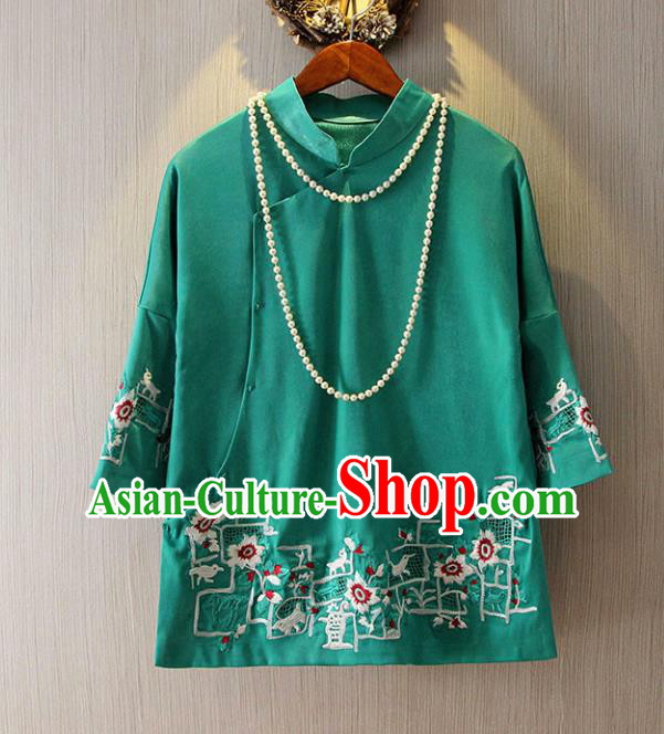 Chinese Traditional National Green Cheongsam Blouse Tangsuit Qipao Shirts for Women