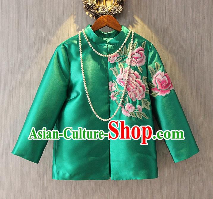 Chinese Traditional National Cheongsam Upper Outer Garment Tangsuit Qipao Embroidered Green Jacket for Women