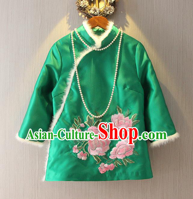 Chinese Traditional National Costume Cheongsam Blouse Tangsuit Embroidered Green Cotton-padded Jacket for Women