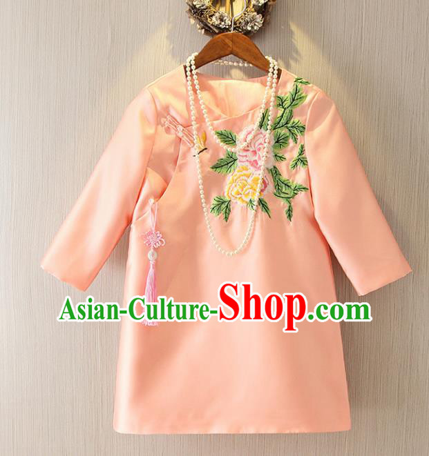 Chinese Traditional National Costume Cheongsam Pink Shirts Tangsuit Embroidered Qipao Blouse for Women