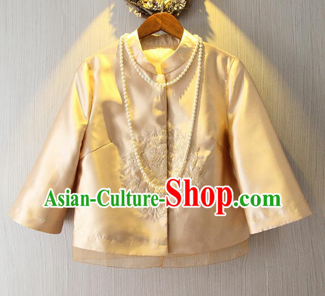 Chinese Traditional National Costume Cheongsam Golden Shirts Tangsuit Embroidered Blouse for Women