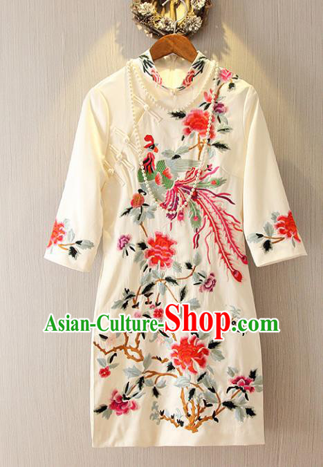 Chinese Traditional National Costume Tangsuit Embroidered Phoenix Peony White Cheongsam Dress for Women