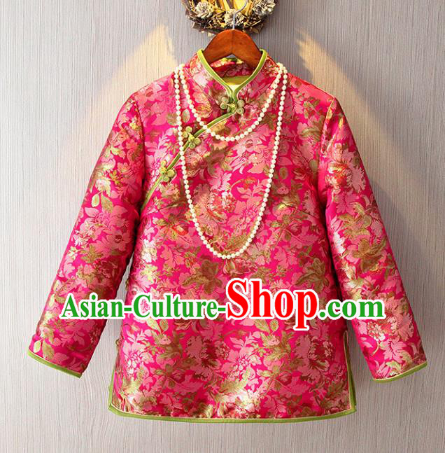 Chinese Traditional National Costume Pink Blouse Tangsuit Cheongsam Shirts for Women