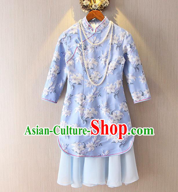 Chinese Traditional National Costume Stand Collar Blue Cheongsam Tangsuit Embroidered Qipao Dress for Women