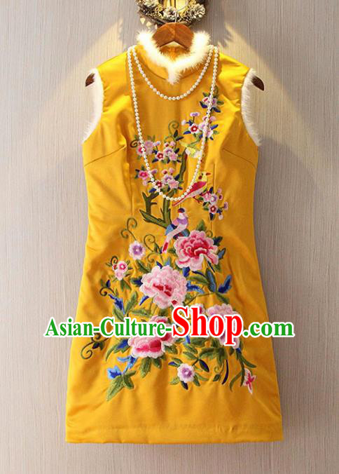 Chinese Traditional National Costume Embroidered Yellow Cheongsam Tangsuit Qipao Dress for Women