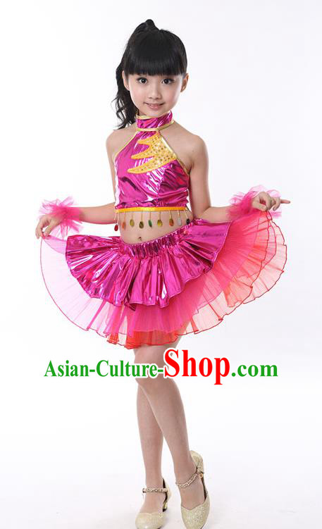 Chinese Classical Stage Performance Jazz Dance Costume, Children Modern Dance Rosy Bubble Dress for Kids