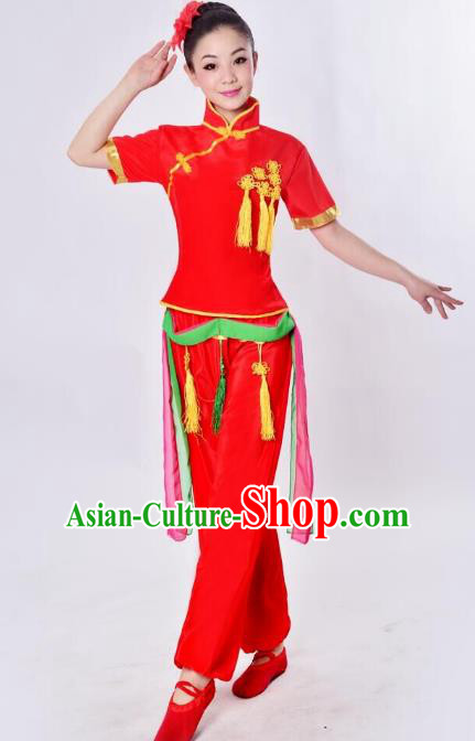Chinese Traditional Fan Dance Costume, China Folk Dance Drum Dance Uniform Yangko Clothing for Women