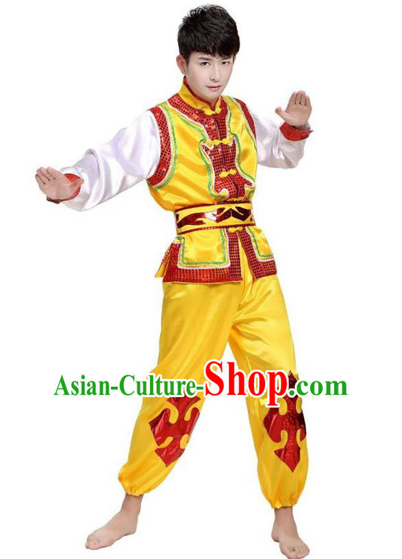 Traditional Chinese Yangge Dance Fan Dance Costume, Folk Drum Dance Yellow Uniform Yangko Clothing for Men