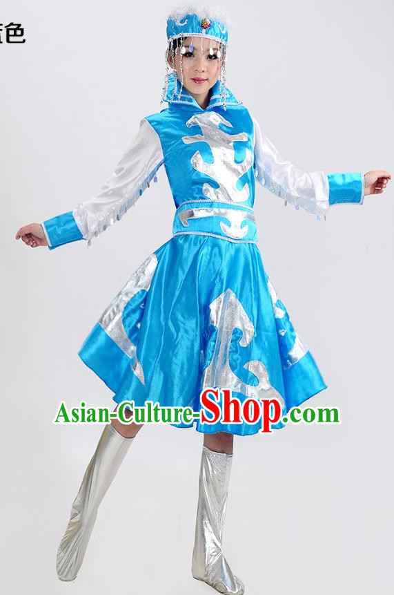 Traditional Chinese Mongol Nationality Dance Costume, Mongols Folk Dance Blue Dress for Women