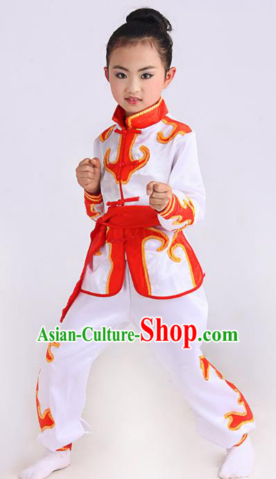 Traditional Chinese Martial Arts Costume, Folk Dance Waist Drum Dance White Uniform Yangko Clothing for Kids