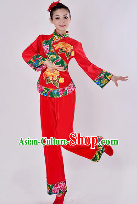 Chinese Traditional Fan Dance Costume Folk Dance Drum Dance Red Uniform Yangko Clothing for Women