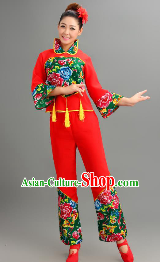 Chinese Traditional Fan Dance Printing Costume Folk Dance Drum Dance Green Uniform Yangko Clothing for Women