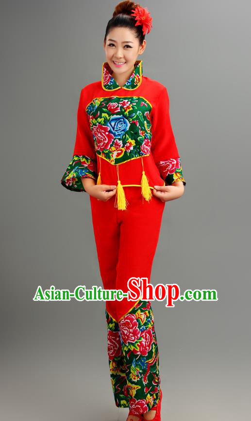 Traditional Chinese Yangge Fan Dance Folk Dance Costume Classical Yangko Dance Modern Dance Dress Clothing