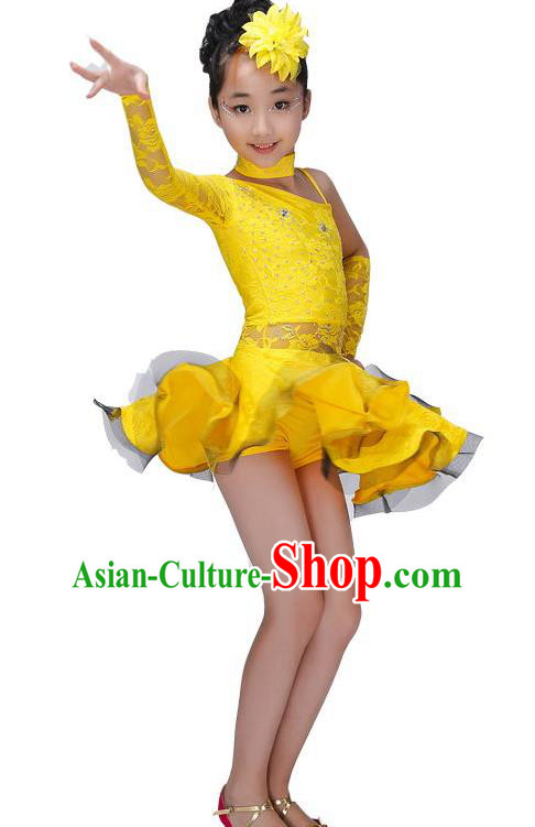 Chinese Classic Stage Performance Costume Children Modern Latin Dance Yellow Dress for Kids