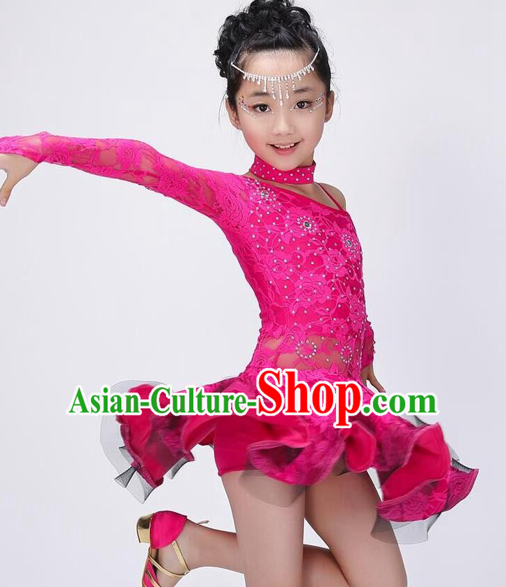 Chinese Classic Stage Performance Costume Children Modern Latin Dance Rosy Dress for Kids