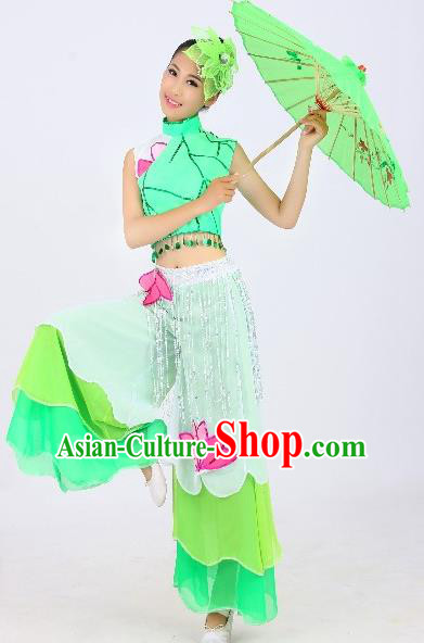 Chinese Traditional Fan Dance Costume Classical Umbrella Dance Green Uniform Yangko Clothing for Women