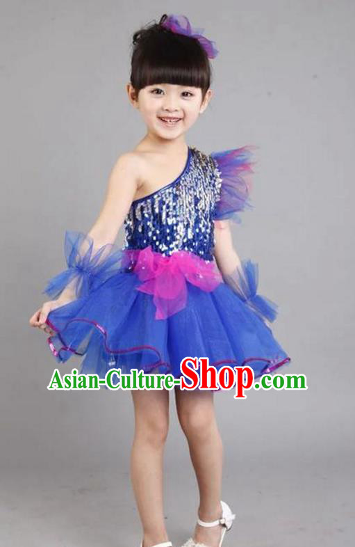 Chinese Classic Stage Performance Costume Children Modern Dance Princess Blue Bubble Dress for Kids