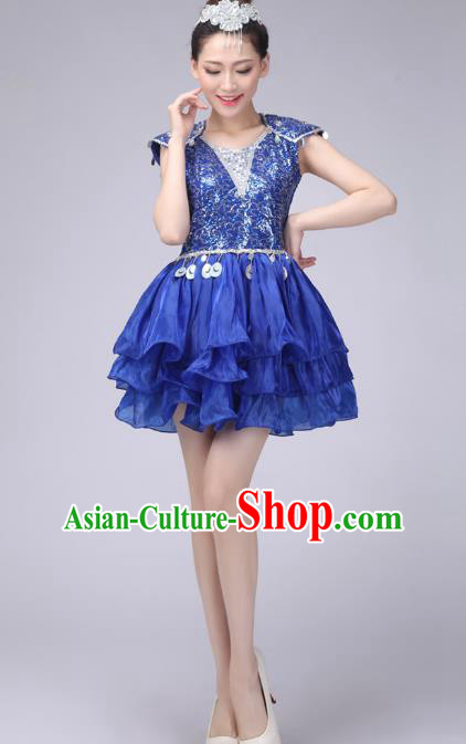 Chinese Classic Stage Performance Costume Modern Dance Blue Bubble Dress for Women