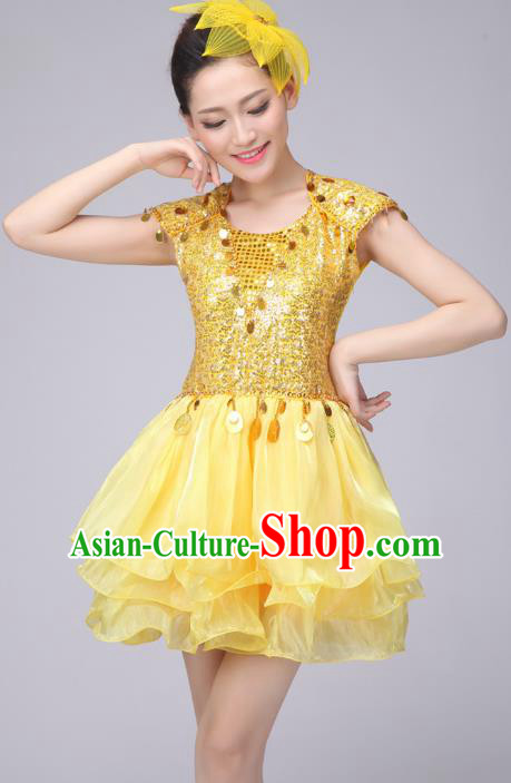 Chinese Classic Stage Performance Costume Modern Dance Yellow Bubble Dress for Women