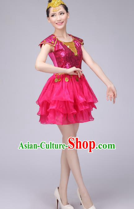 Chinese Classic Stage Performance Costume Modern Dance Rosy Bubble Dress for Women