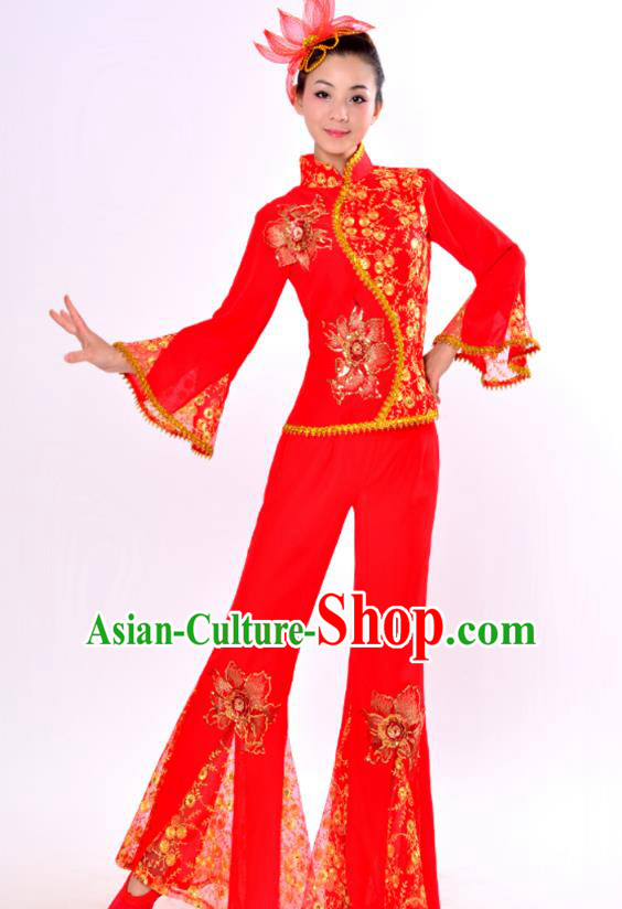 Chinese Traditional Fan Dance Costume Classical Dance Red Uniform Yangko Clothing for Women