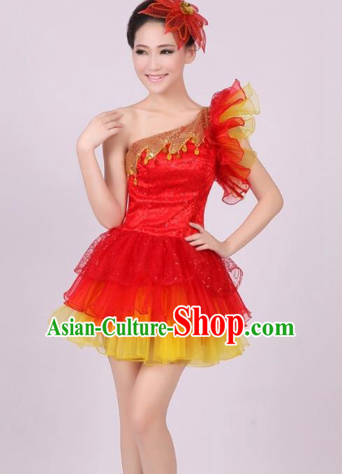 Chinese Classic Stage Performance Chorus Singing Group Costume Modern Dance Red Dress for Women