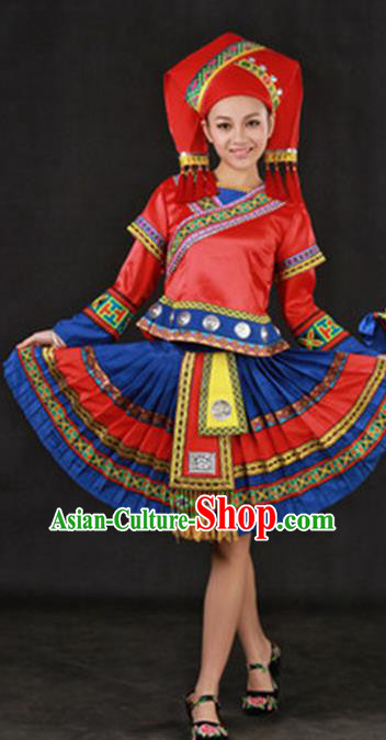 Traditional Chinese Zhuang Nationality Dance Costume, Zhuang Minority Nationality Folk Dance Dress for Women