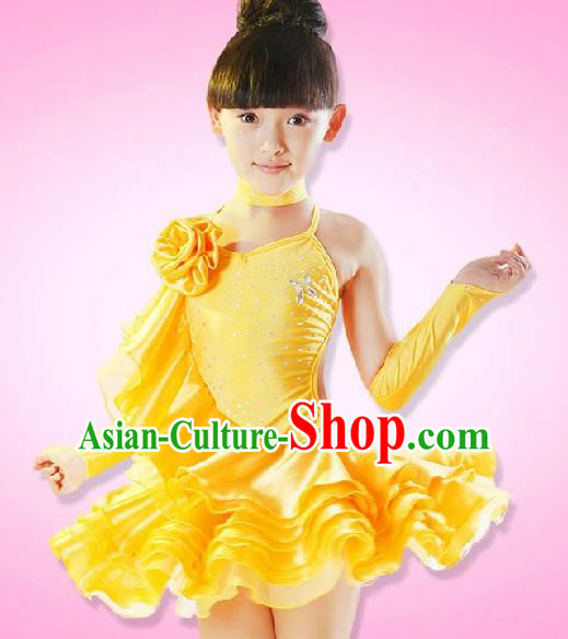 Top Grade Children Stage Performance Costume, Professional Latin Dance Yellow Dress for Kids