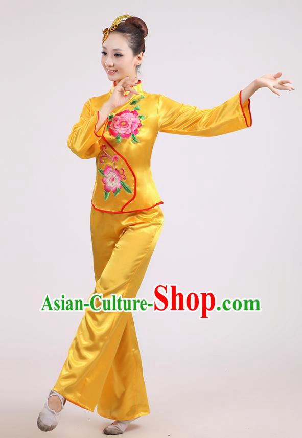 Chinese Traditional Classical Fan Dance Costume Folk Dance Yellow Uniform Yangko Clothing for Women