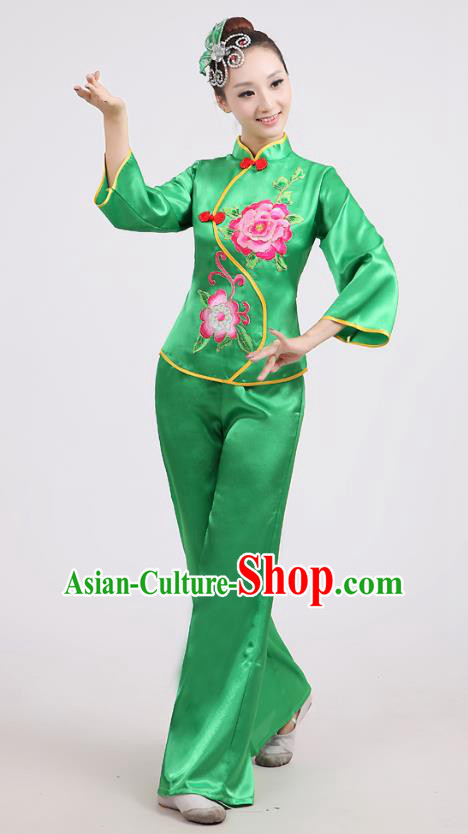 Chinese Traditional Classical Fan Dance Costume Folk Dance Green Uniform Yangko Clothing for Women