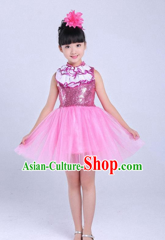 Children Modern Dance Compere Costume Pink Dress, Chorus Singing Group Girls Clothing for Kids