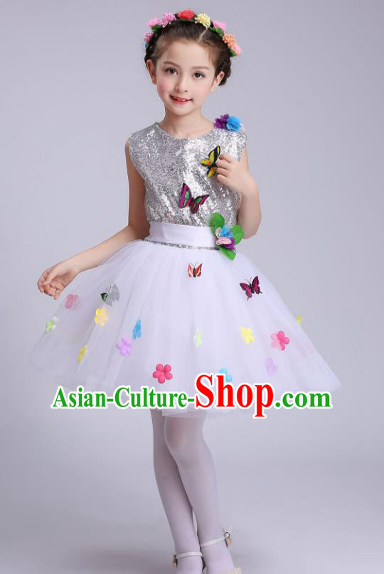 Top Grade Children Modern Dance Costume, Professional Chorus Sing Group White Dress for Kids