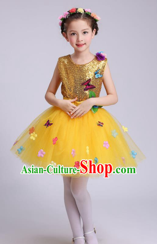 Top Grade Children Modern Dance Costume, Professional Chorus Sing Group Yellow Dress for Kids