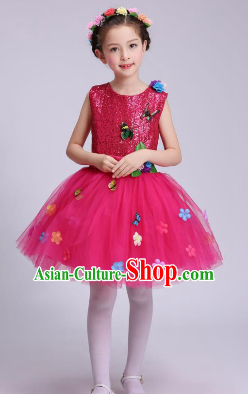 Top Grade Children Modern Dance Costume, Professional Chorus Sing Group Rosy Dress for Kids
