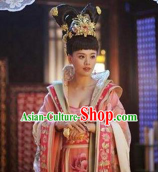 Traditional Chinese Ancient Palace Lady Costume, Tang Dynasty Imperial Consort Helan Minyue Replica Costume for Women