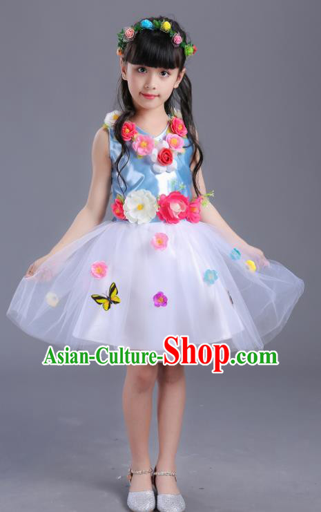 Top Grade Flower Faerie Modern Dance Costume Blue Dress, Children Chorus Singing Group Dance Clothing for Kids