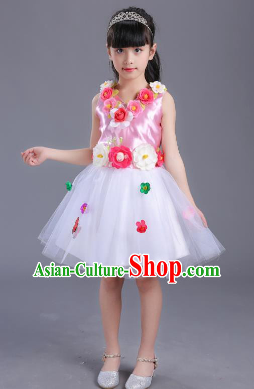 Top Grade Flower Faerie Modern Dance Costume Pink Dress, Children Chorus Singing Group Dance Clothing for Kids