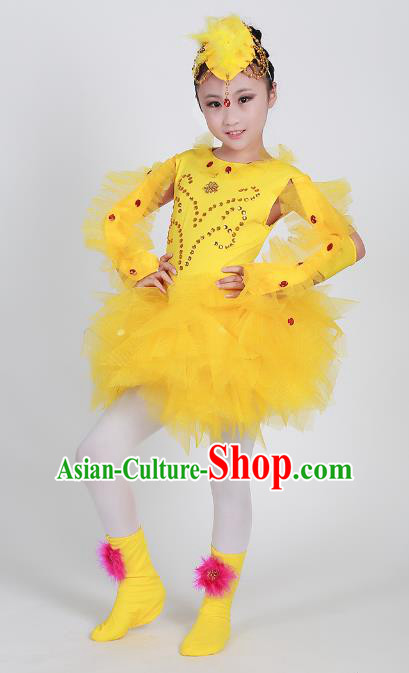 Top Grade Modern Dance Cosplay Chicken Costume Yellow Dress, Children Chorus Singing Group Dance Clothing for Kids